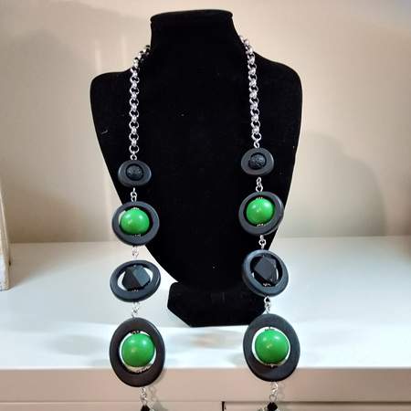 Long Black and Green Necklace