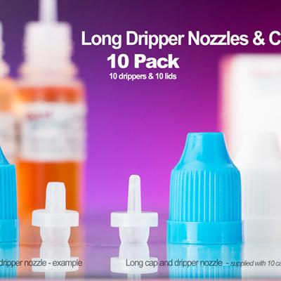 Long Dripper Nozzles & Caps - 10 Pack