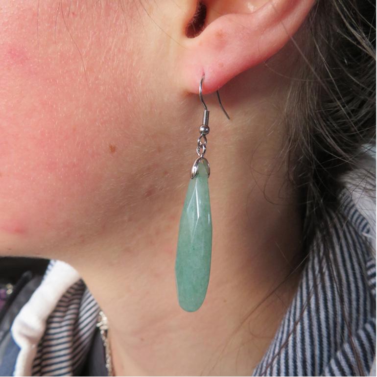 Long green Aventurine semi precious stone earrings