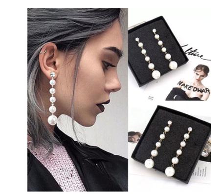 Long Multi Pearl Drop Earrings