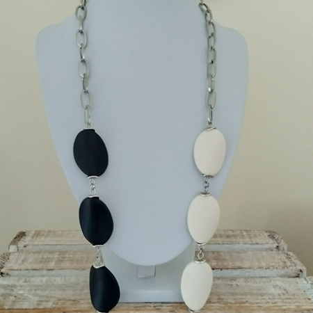 Long Resin Twist Trio Necklace - White, Baby Pink & Black