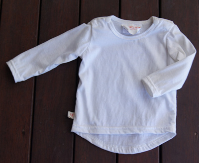 Long Sleeve Tee with shoulder snaps, White, GOTS Organic Cotton Knit, 0-3m