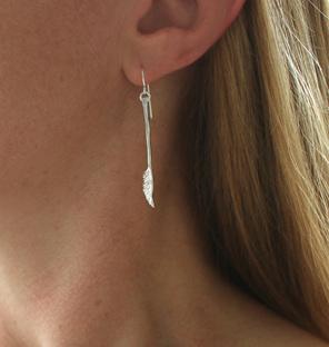 long stem flower leaf dangle sway silver polished shine detailed