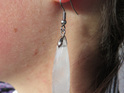 Long white quartz earrings