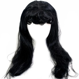 Long Wig Straight Hair Black with Fringe