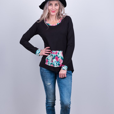 Louie Top Black - front pocket