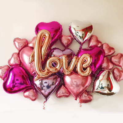 LOVE and Heart Shaped Foil Balloon Combo - 24pcs