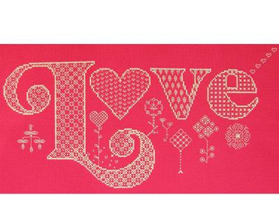 Love cross stitch/blackwork kit