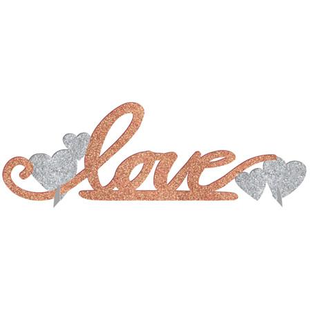 Love glitter centerpiece