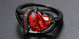 LOVE HEART GUNMETAL BAND RING - RED - US8