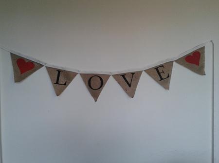 'LOVE' hessian bunting