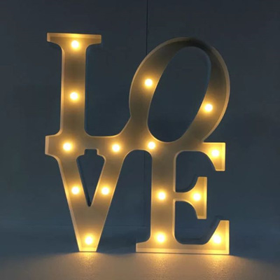 Large Vertical LOVE LED Battery Operated Lights - Warm White