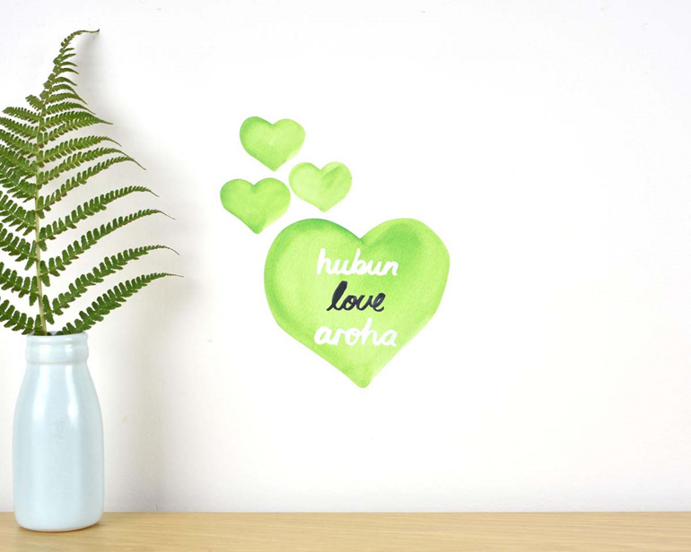 Love wall decal tiny - fundraising for Christchurch mosque attack victims