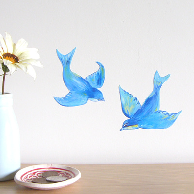 Lovely Bluebirds wall decal