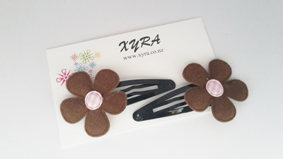 Lovely Brown with Pink Center Flower Hair Clips