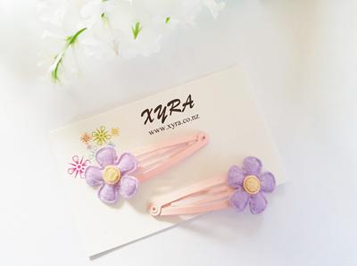 Lovely Lavender Flower Snap Hair Clips