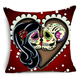 LOVERS SUGAR SKULLS IN HEART CUSHION COVER