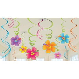 Luau swirl decorations