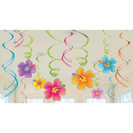 Luau swirl decorations