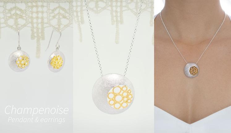 Lucence, sterling silver, designer jewellery, pendant, earrings, Champenoise