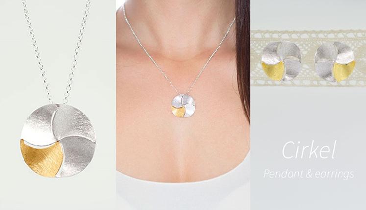 Lucence, sterling silver, designer jewellery, pendant, earrings, gold, Cirkel