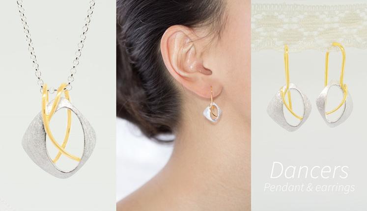 Lucence, sterling silver, designer jewellery, pendant, earrings, gold, Dancers