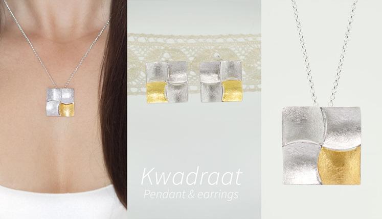 Lucence, sterling silver, designer jewellery, pendant, earrings, gold, Kwadraat