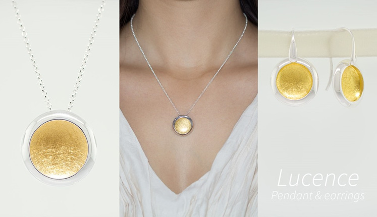 Lucence, sterling silver, designer jewellery, pendant, earrings, gold, Lucence