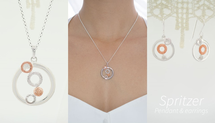 Lucence, sterling silver, designer jewellery, pendant, earrings, gold, Spritzer