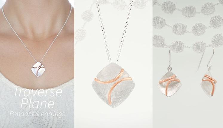Lucence, sterling silver, designer jewellery, pendant, earrings, gold, Traverse