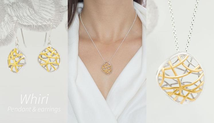 Lucence, sterling silver, designer jewellery, pendant, earrings, gold, Whiri