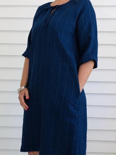 Lucinda Dress DENIM PINSTRIPE