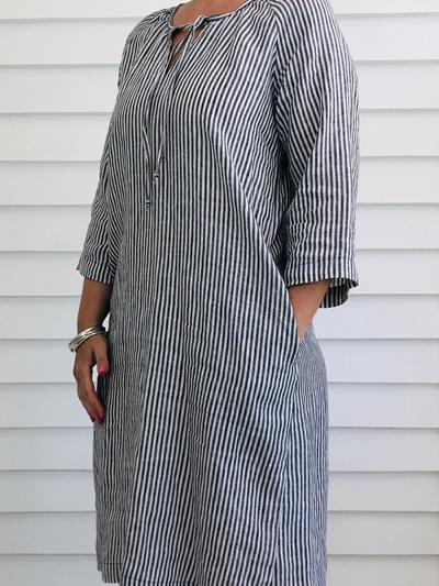 Lucinda Dress NARROW STRIPE