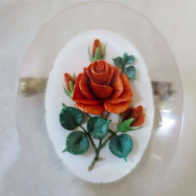 Red rose lucite brooch