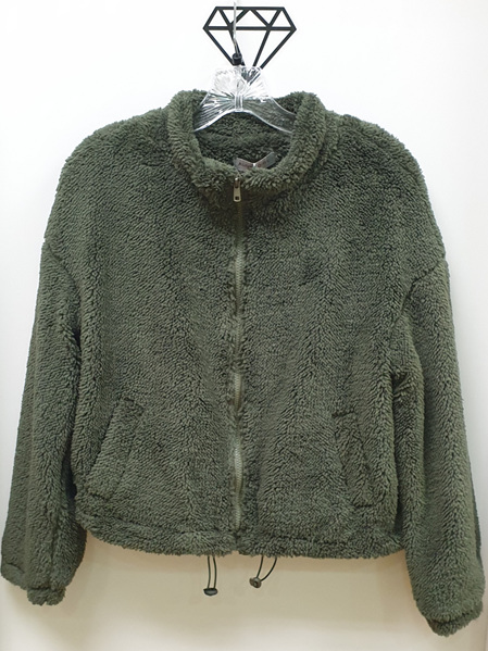 Lydia Faux Sherpa Jacket - Forest Green