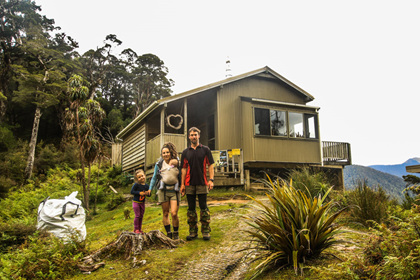 lyell saddle hut photo family tramping nz hiking