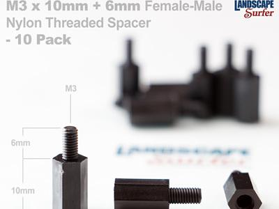 M3 x 10mm + 6mm Female-Male  Nylon Threaded Spacer  - 10 Pack
