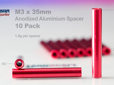 M3 x 35mm - RED - Anodized Aluminium Spacer -10 Pack
