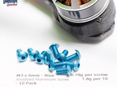M3 x 6mm  Anodized Aluminium Screw Button Head- 10 Pack