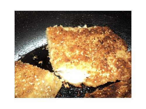 macadamia and bread crumbs coat fish
