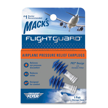 Mack's Flightguard Reusable Airplane Pressure Relief Earplugs 1 Pair