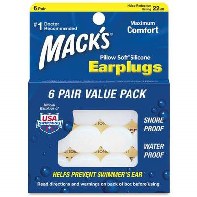 MACK'S PILLOW SOFT SILICONE PUTTY EARPLUGS 6 PAIRS