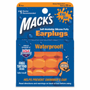 Mack's Soft Moldable Silicone Putty Ear Plugs  Kids Size  6 pairs