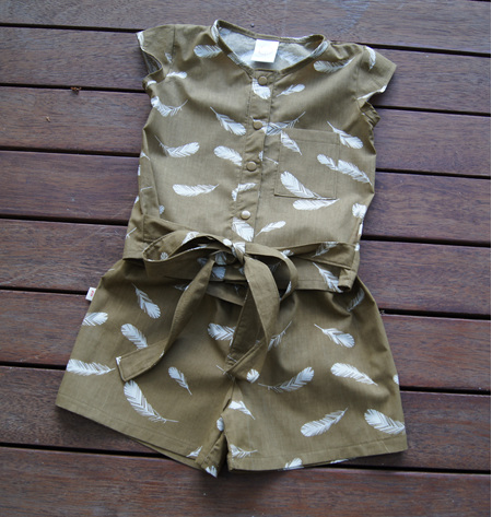 'Maddie' Tie-Waist Top and Shorts set, 'Feathers, Olive' GOTS Organic Cotton, 3 years