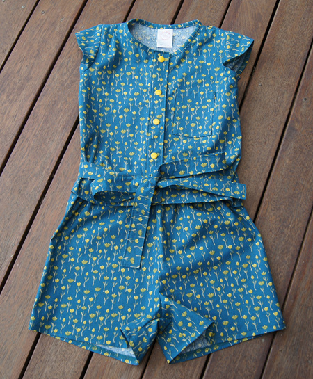 'Maddie' Tie-Waist Top and Shorts set, 'Tulips' 100% Cotton, 4 years