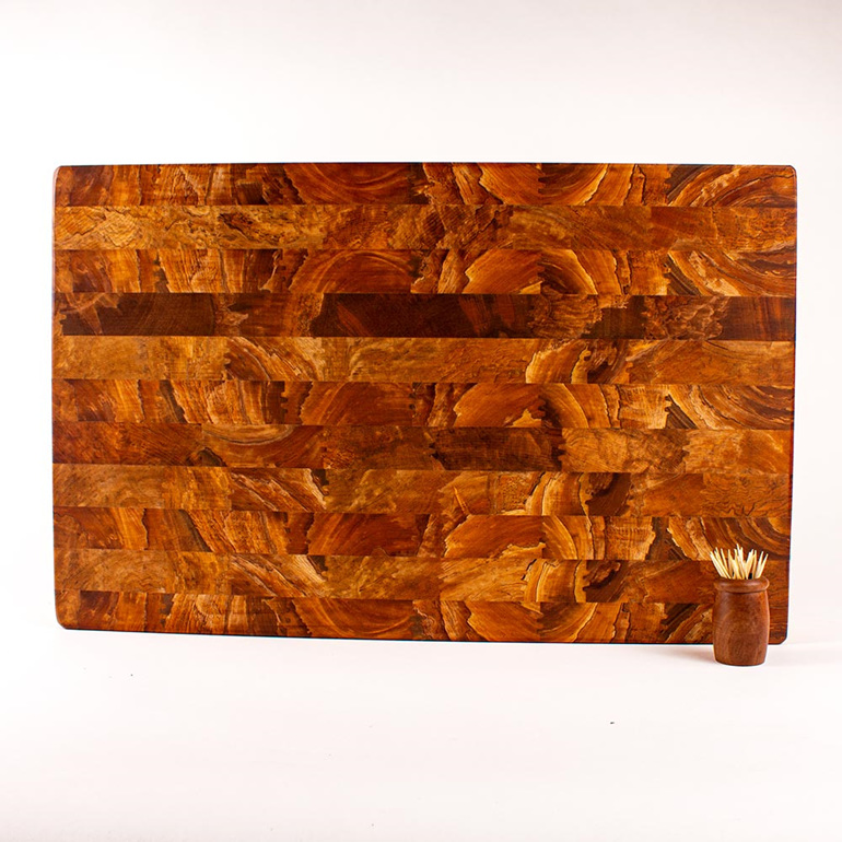 made from heart rimu - end grain board
