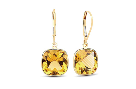 Madeira Citrine and Gold Drop Earrings