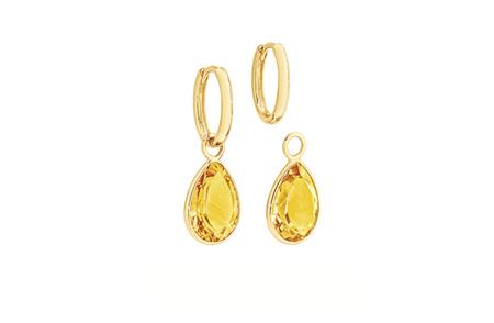 Madeira Citrine Charm Yellow Gold Huggie Earrings