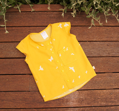 'Madison' Summer Top, Front Snaps, 'Flight Golden' GOTS Organic Cotton, 3 years