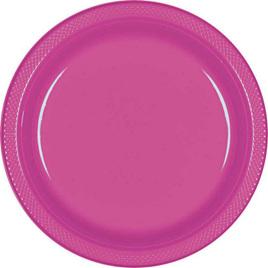 Magenta plastic plates - 20 pack 17.7cm